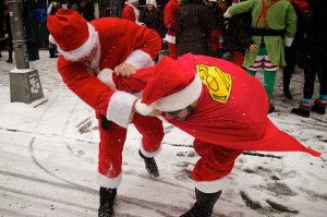Santacon New York Fighting Santas