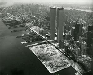 The first landfill in what would later become  Battery Park City and the North Cove Marina area (1970's) (Image by Damiano Beltrami)