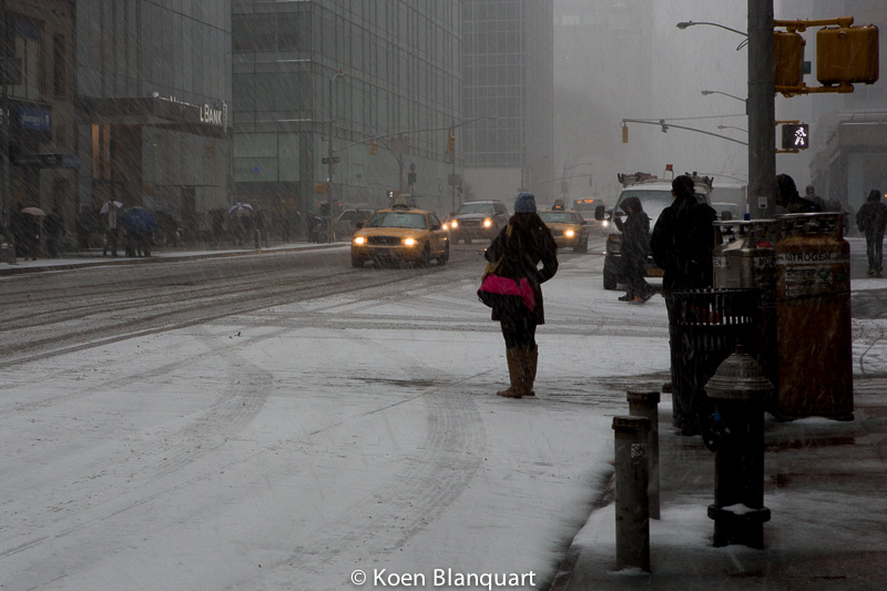 Avenue of the Americas, NY, during storm Juno