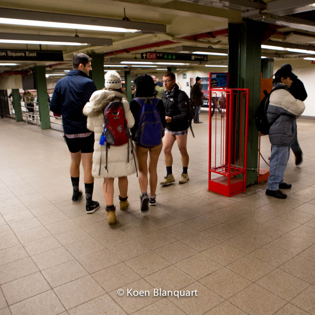 It's an unusual sight to have all these legs out, while it's freezing outside. No Pants Subway Ride.