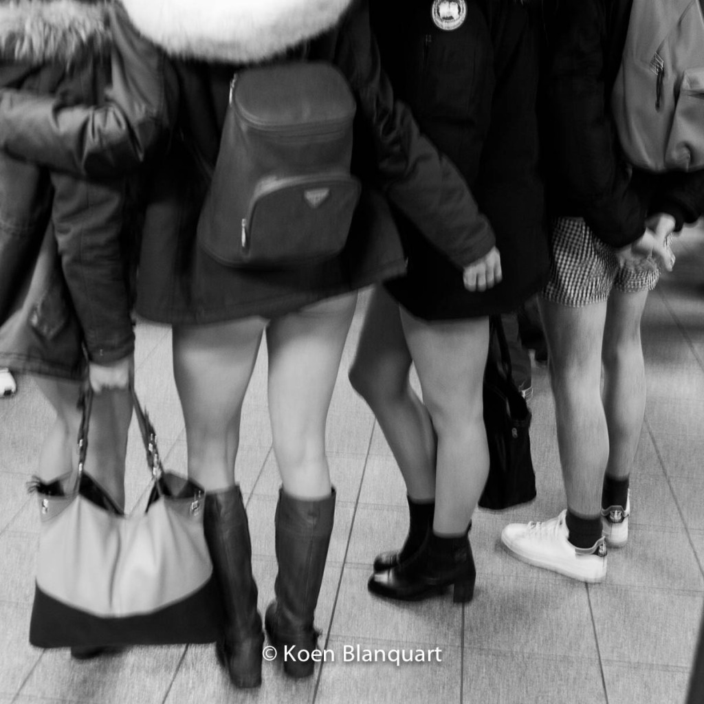 A group of friends from the east of France posing for pictures in Union Square on the No Pants Subway Ride 2015
