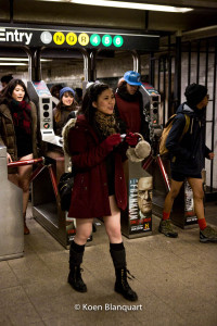 People arrive in the Union Square Subway station at the end of the No Subway Pants ride 2015.