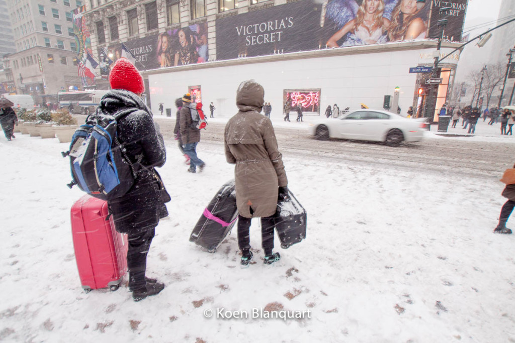 These two girls had just arrived in New York City, and dragged their suitcases  trough the fresh snow of Juno. (Image: Koen Blanquart)