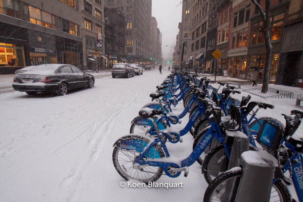 Citibikes waiting for better days on Broadway, Manhattan NY.