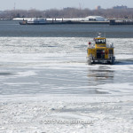 Liberty Landing ferry stuck in the ice on the Hudson