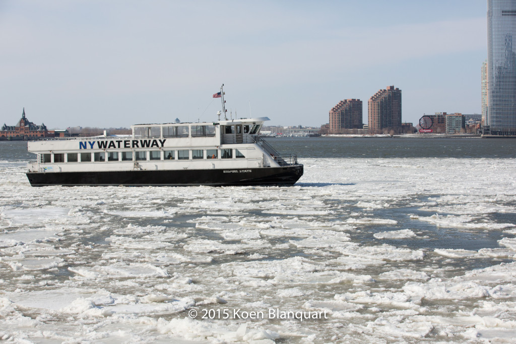 The NY Waterway Ferry heading for the Battery Park City Ferry Terminal