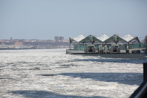 The Hudson (Manhattan side) being packed in ice.