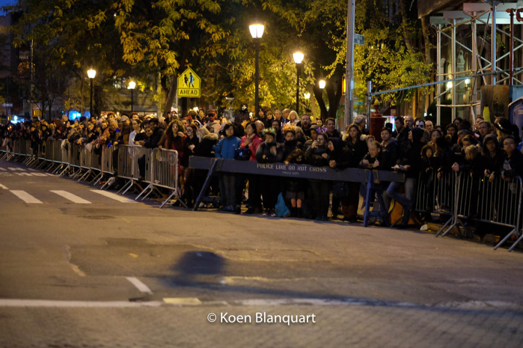The crowd arrives an hour before the start of the New York City, Halloween Parade 2015